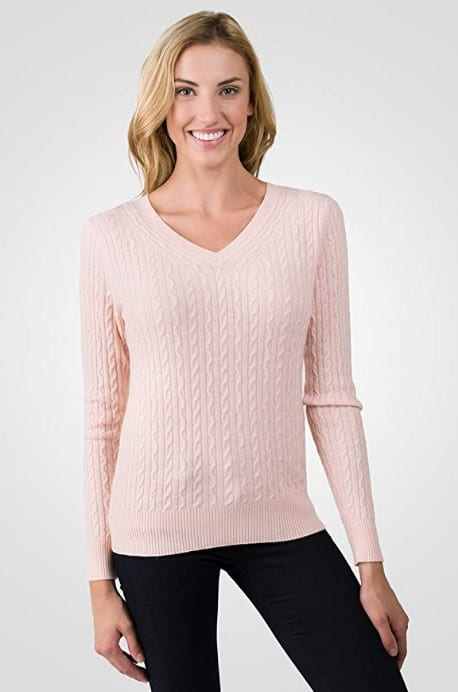 JENNIE LIU Women's 100% Cashmere Long Sleeve Pullover