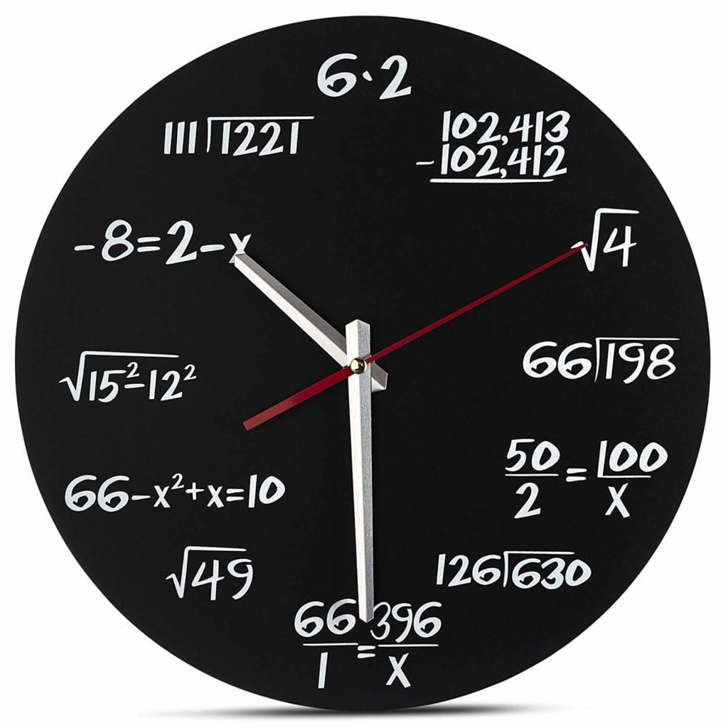 Math Wall Clock Each Hour Marked By a Simple Math Equation