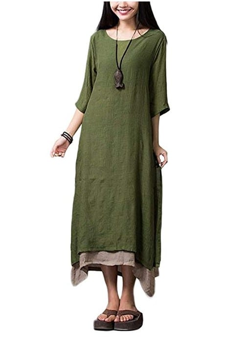 Women Casual Maxi Dress Vintage Taiwan Style