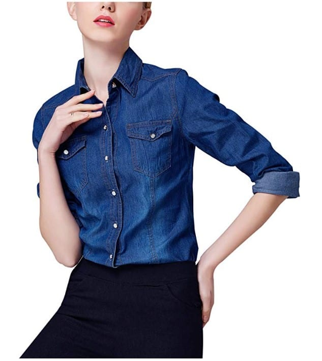 Women's Classic Long Sleeve Button Down Denim Jean Shirt