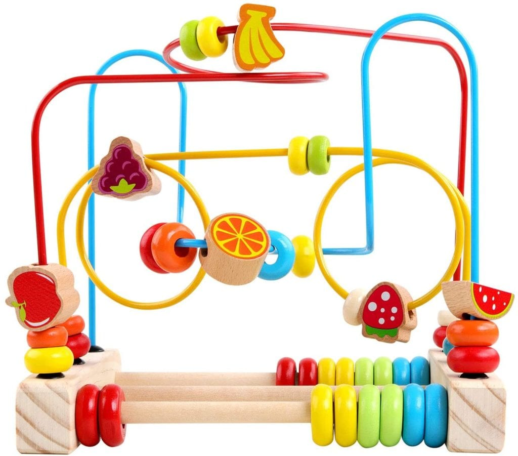Bead Maze Roller Coaster Wooden Beads Abacus Circle Educational My First Toy Cube Gift for Baby Toddlers Kids