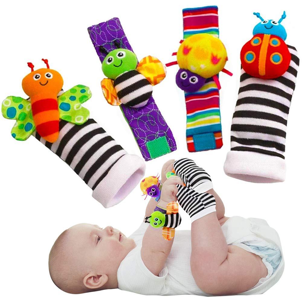 Cute Animal Soft Baby Socks Toys Wrist Rattles