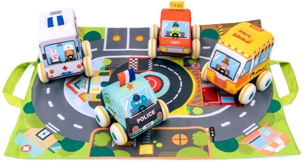 Plush Car Toy Set with Play Mat