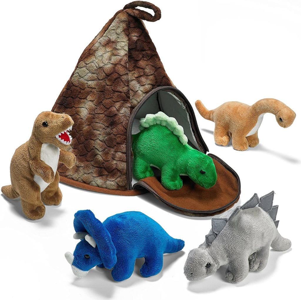 Volcano House with 5 Plush Dinosaurs Great for Kids