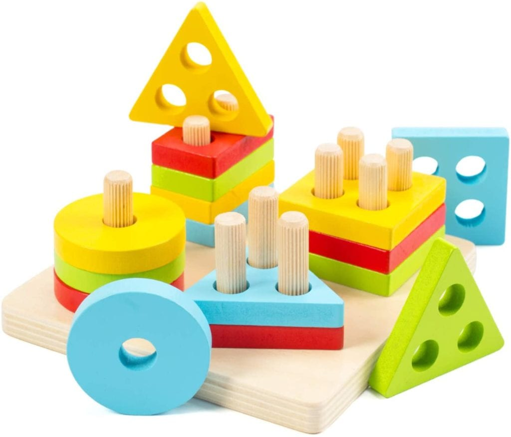 WOOD CITY Wooden Sorting & Stacking Toys for Toddlers