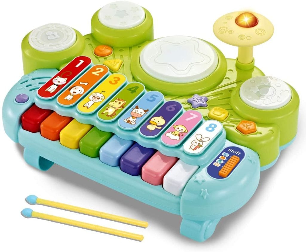 isca 3 in 1 Musical Instruments Toys, Electronic Piano Keyboard Xylophone Drum Set - Learning Toys with Lights for Baby & Toddler 1 2 3 Year Old Boys and Girls